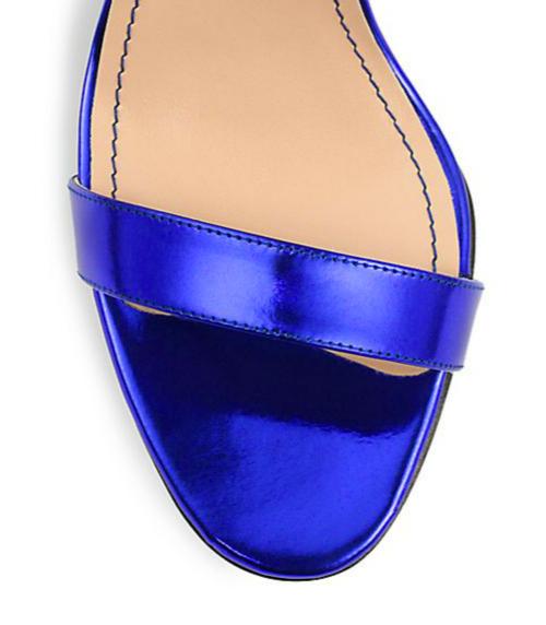 Manolo Blahnik Chaos Metallic Patent Leather Ankle-Strap Sandals 4