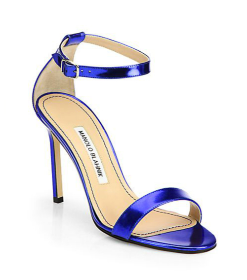 Manolo Blahnik Chaos Metallic Patent Leather Ankle-Strap Sandals