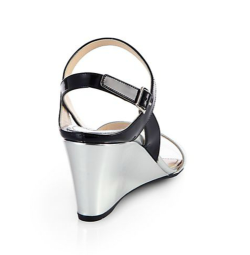 Prada Metallic Patent Leather Slingback Wedge Sandals 2
