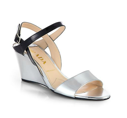 Prada Metallic Patent Leather Slingback Wedge Sandals
