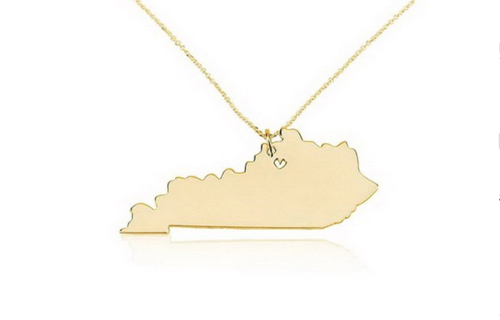 18k Gold Kentucky State Charm Necklace with a Heart