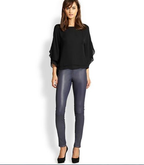 Alice + Olivia Front-Zip Leather Legging 3