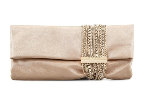 Jimmy Choo Chandra Shimmer Suede Chain Clutch Bag