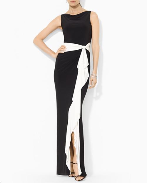 Lauren Ralph Lauren Matte Jersey Color Block Gown