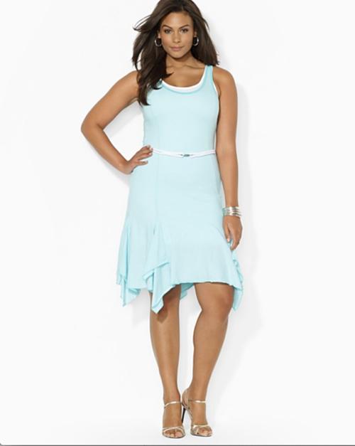 Lauren Ralph Lauren Plus Sleeveless Belted Dress