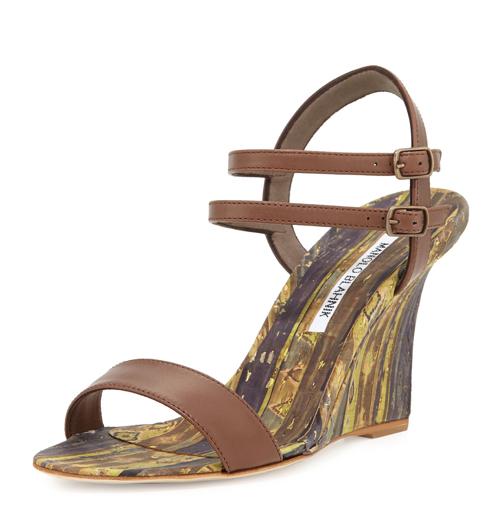 Manolo Blahnik Amim Cork Wedge Sandal