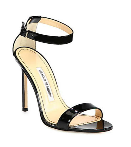 Manolo Blahnik Chaos Patent Leather Ankle-Strap Sandals