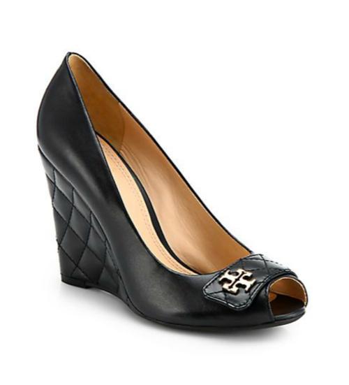 Tory Burch Leila Leather Peep-Toe Wedge Pumps