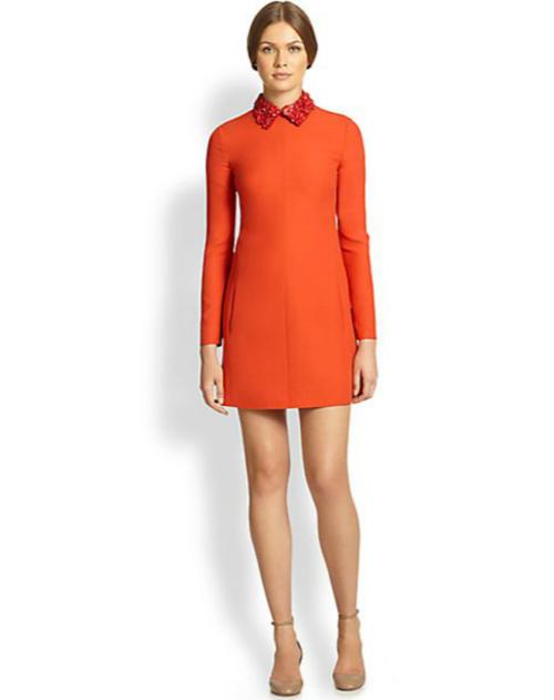 Valentino Floral-Collar Crepe Dress 2