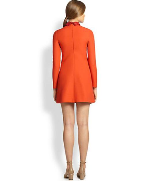 Valentino Floral-Collar Crepe Dress 3
