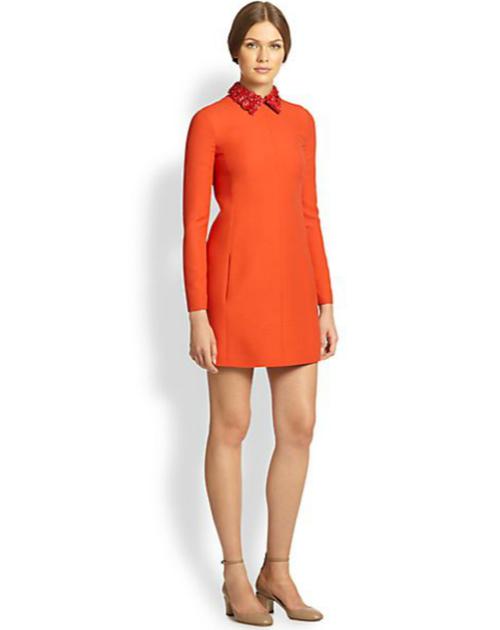 Valentino Floral-Collar Crepe Dress