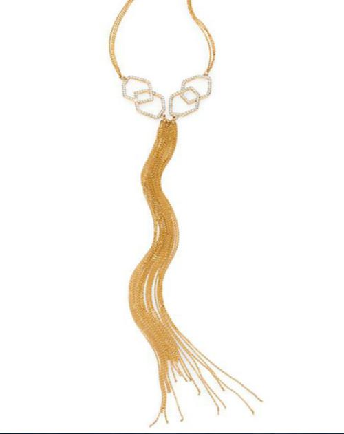 ABS by Allen Schwartz Jewelry Pavé Fringe Chain Necklace
