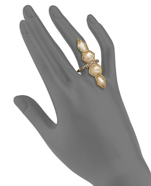 Alexis Bittar Light Citrine & Mother-of-Pearl Doublet Ring 2
