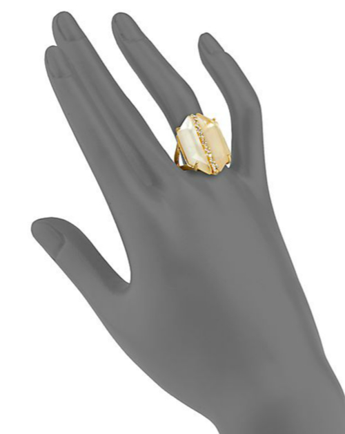 Alexis Bittar Mother-of-Pearl Doublet & Crystal Cocktail Ring 2