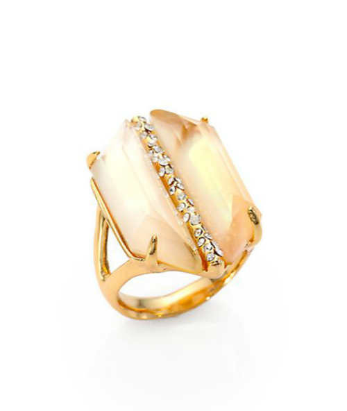 Alexis Bittar Mother-of-Pearl Doublet & Crystal Cocktail Ring