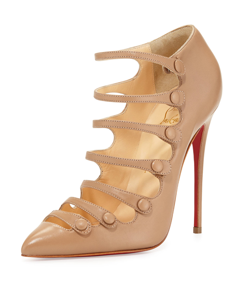 Christian Louboutin Viennana Strappy Leather Red Sole Bootie