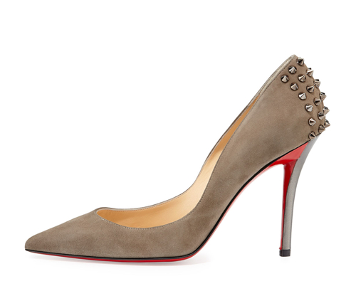 Christian Louboutin Zappa Suede Spiked Red Sole Pump 2
