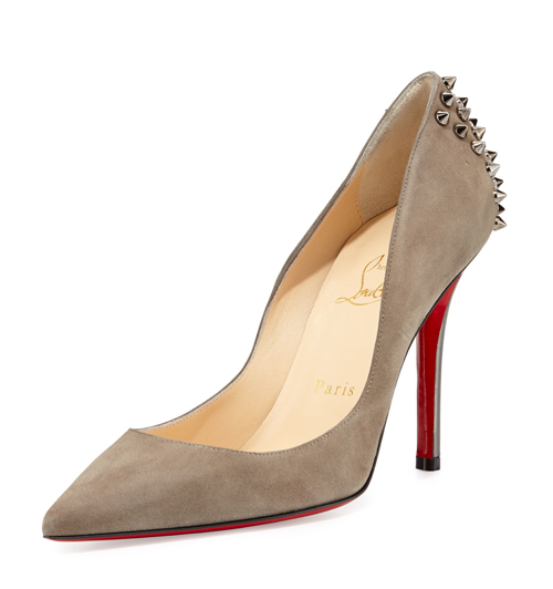 Christian Louboutin Zappa Suede Spiked Red Sole Pump