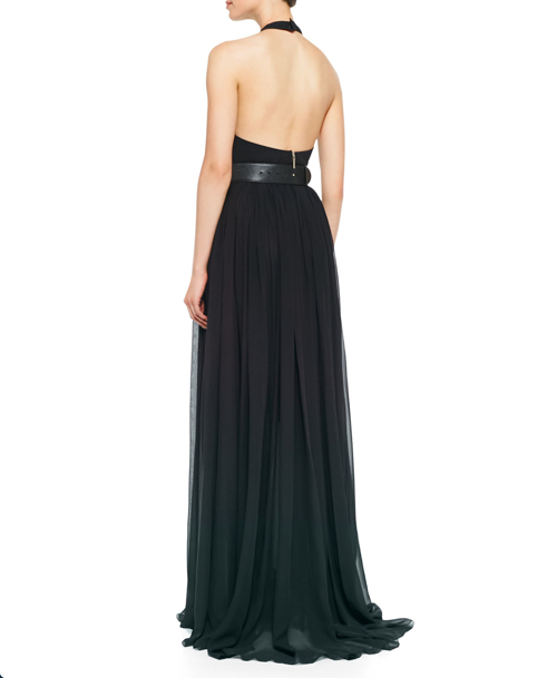 Elie Saab Halter-Top Gown & Lambskin Leather Belt 2