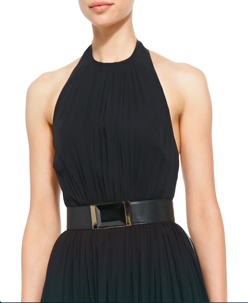 Elie Saab Halter-Top Gown & Lambskin Leather Belt 3