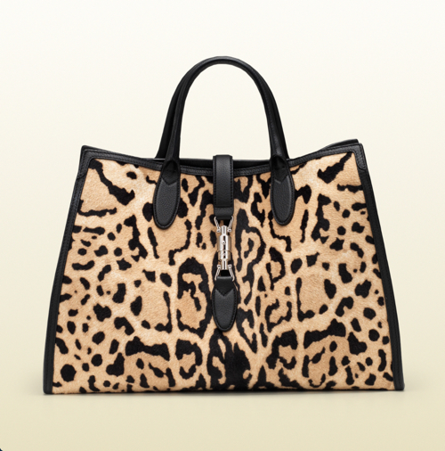 Gucci Leopard Print Calf Hair Top Handle Bag