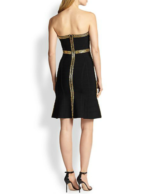 Herve Leger Strapless Chain-Embellished Bandage Dress 2