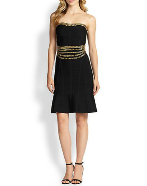Herve Leger Strapless Chain-Embellished Bandage Dress