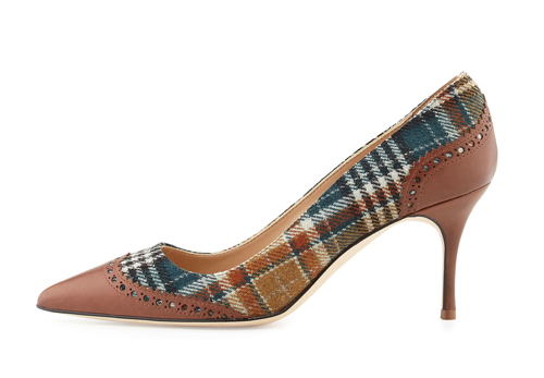 Manolo Blahnik Ancor Plaid & Leather Wing-Tip Pump 2