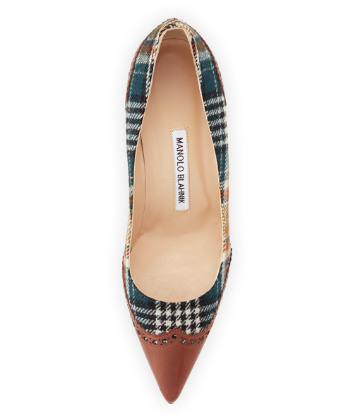 Manolo Blahnik Ancor Plaid & Leather Wing-Tip Pump 3
