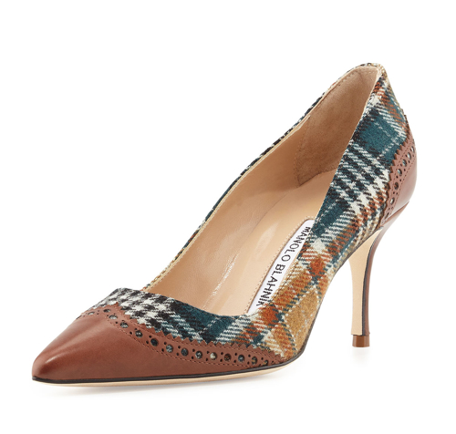 Manolo Blahnik Ancor Plaid & Leather Wing-Tip Pump