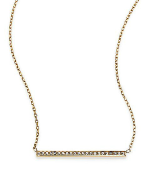 Michael Kors Motif Pavé Bar Pendant Necklace