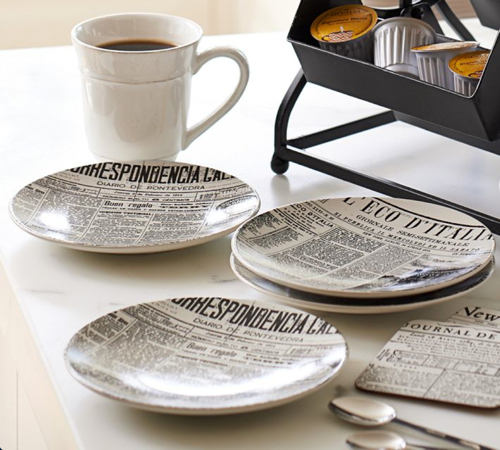 Pottery Barn Newspaper Bread Plates