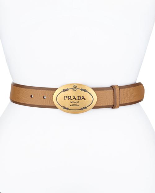 Prada Saffiano Cuir Oval Logo Belt