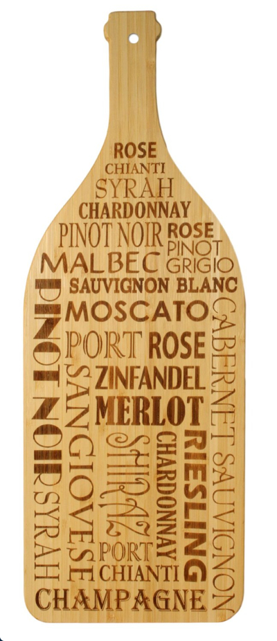 Totally Bamboo Laser-Etched Wine Bottle Shaped Cutting and Serving Board