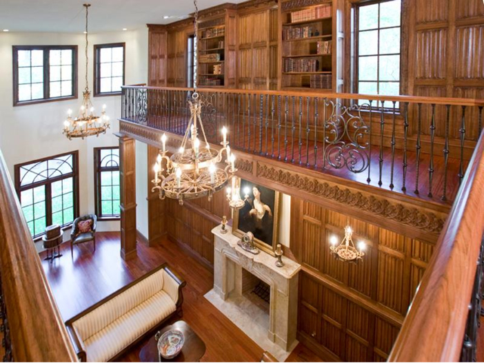 $3.2 Million European Style Country Estate in New Hope, Pennsylvania - Two-Story Sitting Room and Second Floor Library