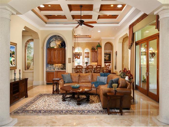 $3.2 Million Italian Inspired Mansion in Naples, Florida - Living Room