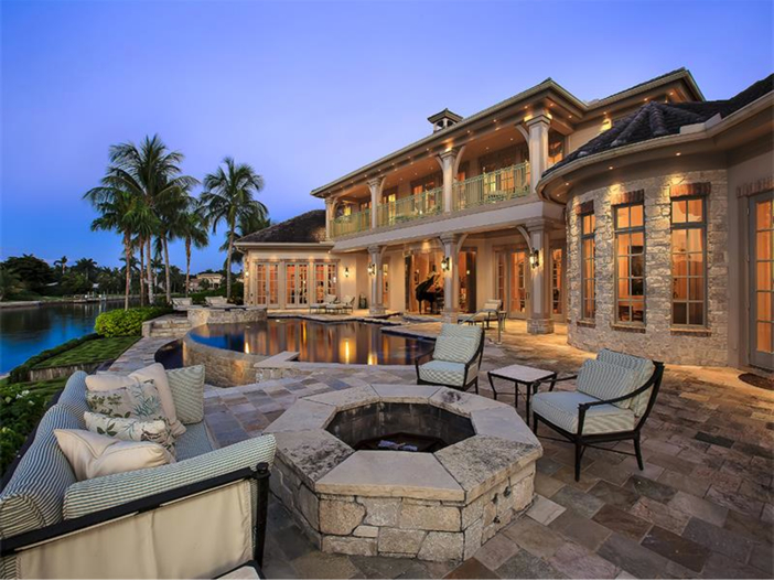 $5.1 Million Elegant European Mansion in Naples, Florida - Gorgeous Patio with Firepit