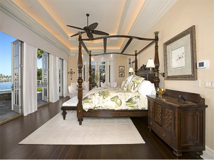 $5.1 Million Elegant European Mansion in Naples, Florida - Master Bedroom with Stunning Views