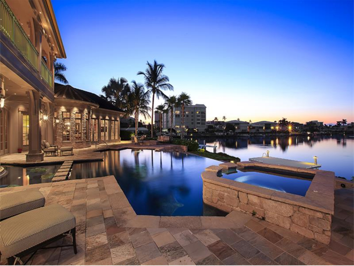 $5.1 Million Elegant European Mansion in Naples, Florida - Pool and Spa on the Water
