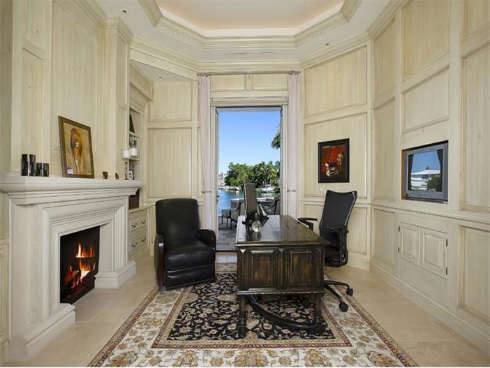 $5.1 Million Elegant European Mansion in Naples, Florida - Study with Fireplace