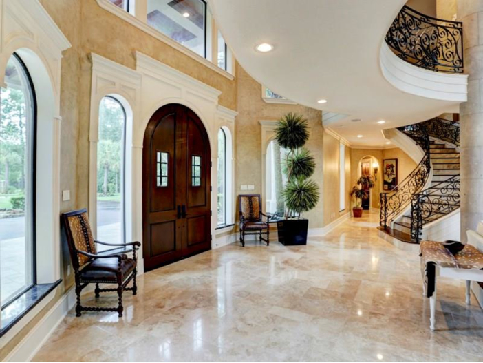 Estate of the day 7 5 million mediterranean mansion in for Mansion foyer designs