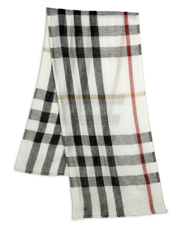 Burberry Exploded Check Linen Scarf 2014