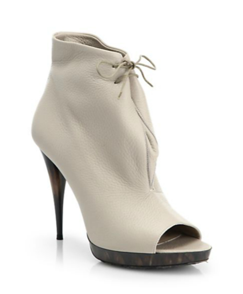 Burberry Jenkin Heritage Leather Open-Toe Ankle Boots