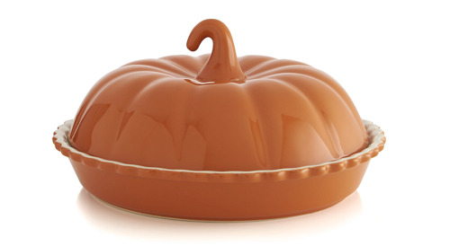 Crate and Barrel Covered Pumpkin Pie Dish