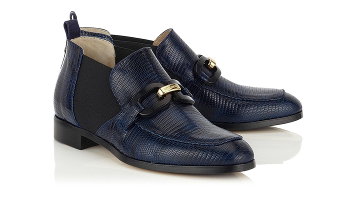 Jimmy Choo Ink Embossed Leather and Suede Loafers