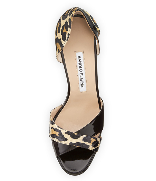 Manolo Blahnik Audel Leopard-Print Snake d'Orsay Pump 2