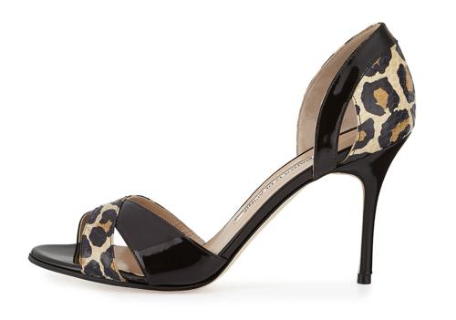 Manolo Blahnik Audel Leopard-Print Snake d'Orsay Pump 3