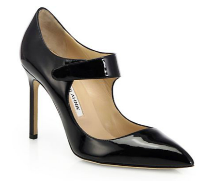 Manolo Blahnik Volvini Patent Leather Mary Jane Pumps