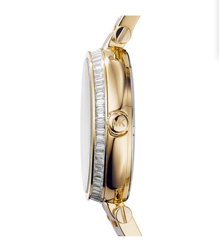 Michael Kors Skylar Green And Gold-Tone Stainless Steel Bracelet Watch Side View
