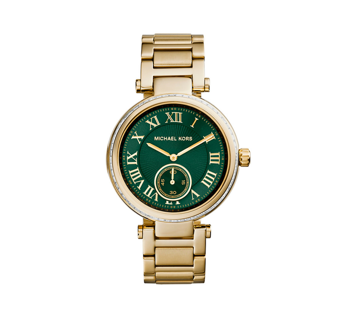 Michael Kors Skylar Green And Gold-Tone Stainless Steel Bracelet Watch